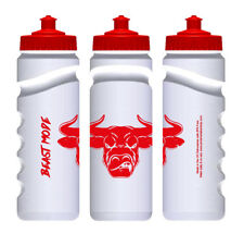 "Raging Bull Red & White ""Beast Mode"" Sports Gym Water Bottle 750ml"