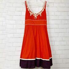 Anthropologie Floreat Women's Fit Flare Dress Embroidered Retro Tie Waist Sz 2