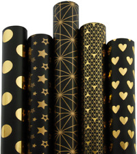 Ruspepa Gift Wrapping Paper Roll-Black and Gold Foil Pattern for Wedding,Birthda