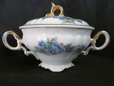 Saji Fancy China Forget Me Not Sugar Bowl with Lid-blue flowers