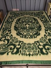 YINCHUAN WOOLEN MILL 78x57 BED BLANKET China Chinese Emerald Green White Wool