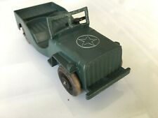 """VINTAGE METAL MASTERS #A-35 ARMY JEEP 5-1/2"""" LONG - 1947 - LARGER WOOD WHEELS"""