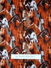 Horse Heads Fabric - Wild Wings River's Rivers Bend Brown - Springs Cotton YARD