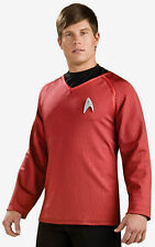 Official Deluxe Adult Red Star Trek Shirt Costumes Scotty Size S Men's