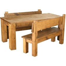 SOLID WOOD DINING TABLE AND BENCHES CHUNKY RUSTIC PLANK PINE FURNITURE any size