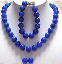 New Jewelry 12mm blue Lapis necklace bracelet earring sets AAA