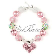 Love Pink Heart Pendant Chunky Gumball Bubblegum Beads Necklace Jewlery For Kid