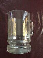 """glass water pitcher with handle engraved design 5"""" diameter. 8"""" high -"""