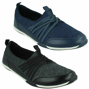 F8R0511 LADIES DOWN TO EARTH SLIP ON PUMPS CASUAL LEATHER BLACK NAVY FLAT SHOES