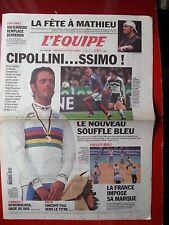 journal l'équipe 14/10/2002 CYCLISME CHAMPIONNAT DU MONDE CIPOLLINI  FOOT FRANCE