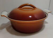 Vintage Holland Orange Enamel Cast Iron Pot #20 With Lid 1.5 Qt Dutch Oven Dru ?