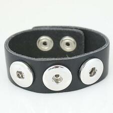 Fits Ginger Snap GINGER SNAPS BRACELET Black Leather Magnolia Jewelry 18mm Charm
