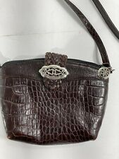 New listing Brighton Brown Reptile Embossed Leather Mini Cross body Bag purse Single Strap