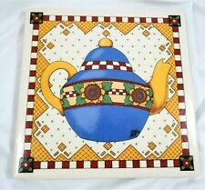 Mary Engelbreit Sunflower Teapot Trivet Ceramic Tile Wall Hanging Plaque 8""