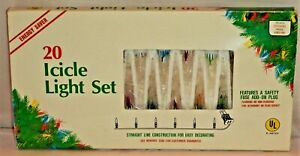 1 Set Vintage 20 Icicle Drip String Christmas Tree Lights Working Colors