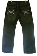 AKDMKS Akademiks Mens Black Jeans Size 42 Distressed Baggy Loose Faux Leather