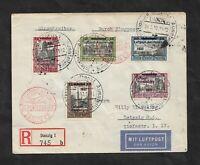 Danzig 1932, Michelnrn: 231 - 235 o, LUPO-R-Brief, gestempelt o, Kat.Wert € 300