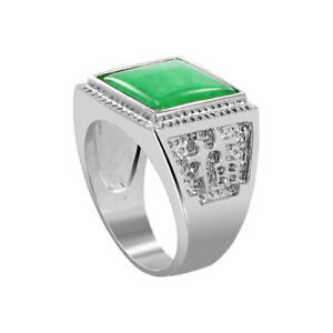 Men's Silver Plated Green Gemstone 13mm Square Shape Ring Size 8 - 11
