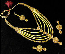 Gold LCT Pearl Stone 4pcsFashion Bridal Long RaniHaar Necklace Set-175- Sale