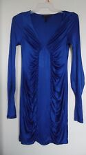 BCBG Maxazria Runway Renee Side Ruched Blue Dress Size S