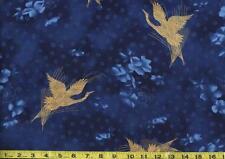 Zen Garden Blue Gold Metallic Cranes Blossoms  Asian Hoffman Fabrics 1/2 Yard