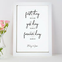 Personalised First Day Yes Day Forever Day Print Wedding Couple Gift Frame
