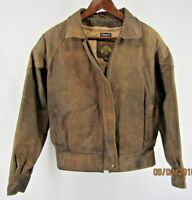 Mens Wilson's Adventure Bound Originals Brown Leather Jacket Motorcycle Bomber