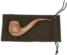 Men's Full Bent Tobacco Pipes Bubinga Smooth Wood Stem Light Brown P001