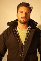 New Wax Jacket Brown British Classic Waxed Cotton Padded Winter Warmer Mens