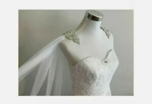UK Wedding Veil Cape Accessories Diamond top Bridal Shawl Cathedral Length Cape