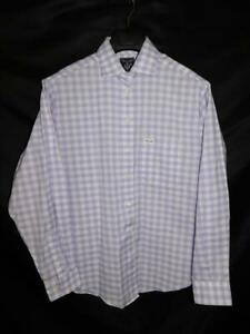 Faconnable M Purple White Gingham Plaid Shirt Long Sleeve Blouse Cotton USA Made