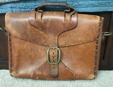 "VINTAGE 1930/40's BRITISH TAN COGNAC LEATHER 17"" BRIEFCASE SATCHEL LAPTOP BAG"
