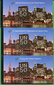 UNITED NATIONS Prestige Booklet - UN 50th ann.1 each New York Geneva Vienna