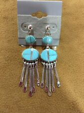 Navajo And Turquoise Handmade Dangle Earrings Signed Billy Long