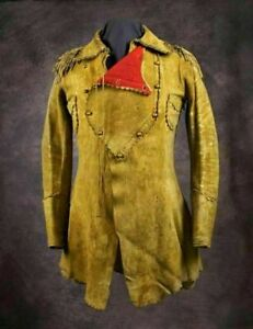New Men's Native American Rare Buckskin Leather Jacket Coat War Shirt Brand