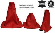Rojo Cuero Real 3X Polainas Set sirve para Landrover Discovery MK1 MK2 1996-2004