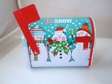 Christmas Mailbox Shaped Tins w Lids choice of  Poinsettia Snowman Penguin