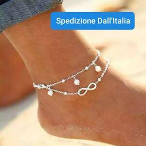 Cavigliera simbolo infinito catenina doppia Donna Sexy Estate bigiotteria perle
