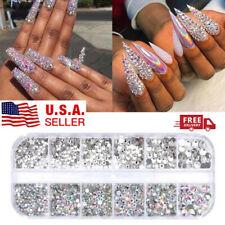 12 Box Crystal Rhinestone Jewelry Glass 3D Glitter Diamond Gem Nail Art Decor US