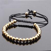 Charm Gold Pld 18K Micro Pave CZ Beads Braiding Macrame Men Bracelets Jewelry