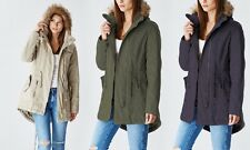 Glamsia Lady Cotton Parka Jacket With Fur Lined Hood - Olive Beige Navy S M L XL
