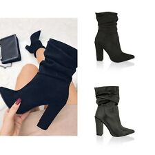 Womens Ladies Block Heel Slouch Ankle Boots Pointed Ruched Mid Calf Shoes Size
