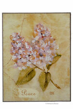 Wood Peace White & Purple Lilac Flower Wall Art Sign Plaque