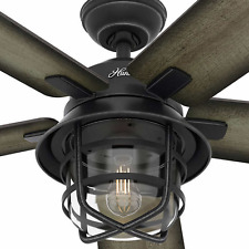 "Damp Outdoor/Indoor 54"" Burnished Ceiling Fan Remote Industrial Cage Patio Light"