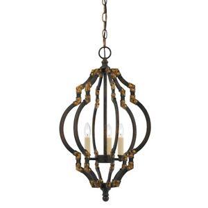 Cal Lighting Howell 3 Light Metal Pendant, Iron Antique Gold - FX-3593-3