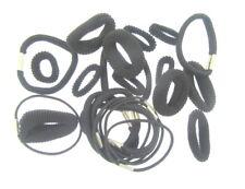 24 X Noir Assortis Cheveux Élastiques en un Transparent Porte-Monnaie (L)