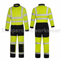 Phoenix Flame Retardant High Visibility Yellow Overalls Coverall Boiler Suit New