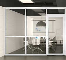 Cgp Office Partition System Glass Aluminum Wall 9x9 Withdoor White Semi