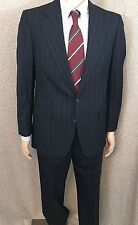 Aquascutum London Navy Blue Stripe Suit Two Button Fully Lined 40R 34W x 30L