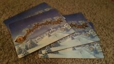 Set of 4 Pottery Barn Kids Christmas Santa Sleigh With Reindeer Cork Placemats